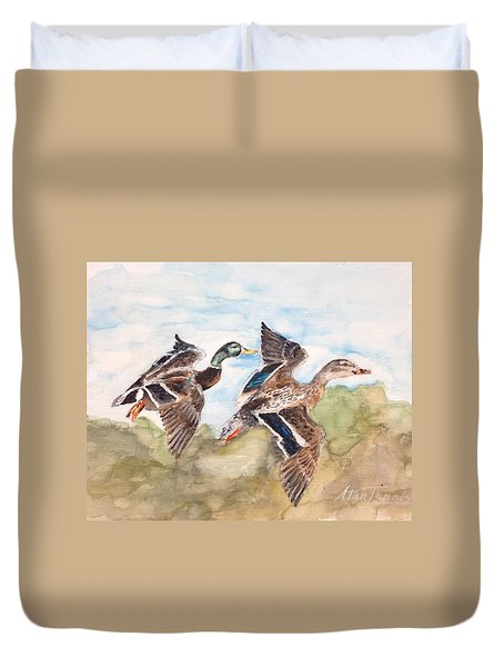 Duvet Cover featuring the painting Mallards by Stan Tenney