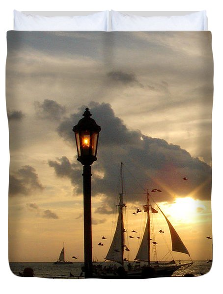 Mallory Square Key West Duvet Cover by Susanne Van Hulst