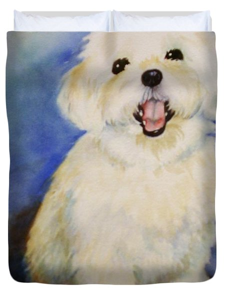 Maltese Named Ben Duvet Cover by Marilyn Jacobson
