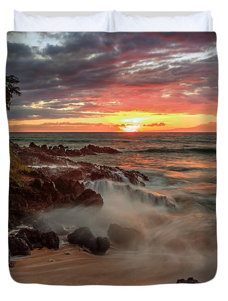 Maluaka Beach Sunset Duvet Cover