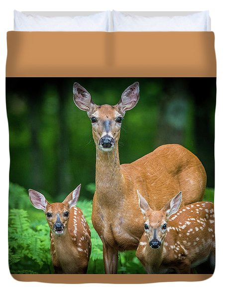 Mama And Fawns Duvet Cover