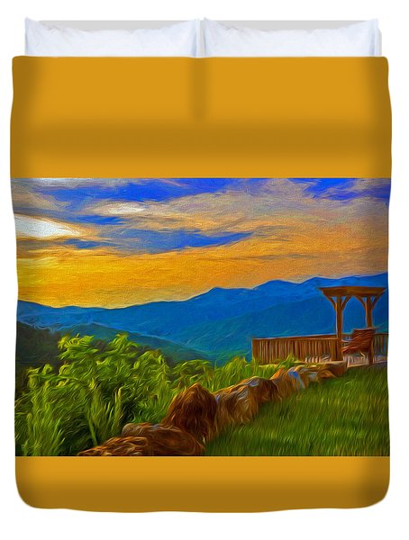 Blue Ridge Sunset From Mama Gertie's Hideaway Duvet Cover