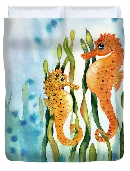 Mamma And Baby Seahorses Duvet Cover