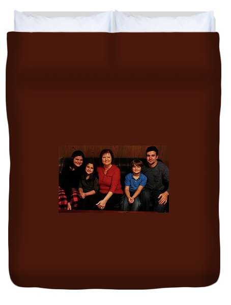 Duvet Cover featuring the photograph Mamma And Kids by Gene Gregory