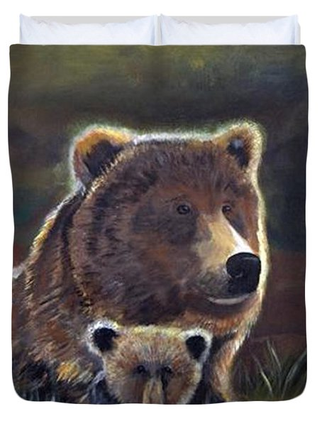 Duvet Cover featuring the painting Mammas Warmth by Leslie Allen