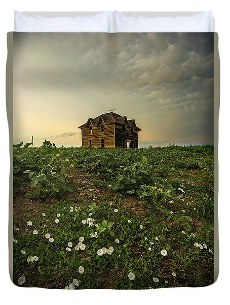 Duvet Cover featuring the photograph Mammatus And Flowers  by Aaron J Groen