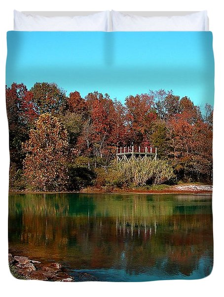 Duvet Cover featuring the photograph Mammoth Springs by Rick Friedle