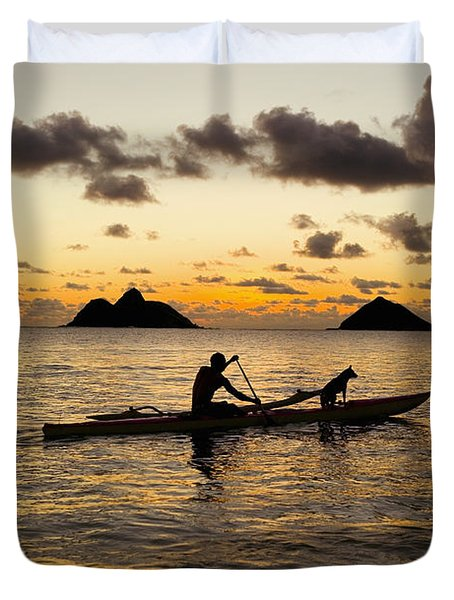 Man And Dog In Canoe Duvet Cover by Dana Edmunds - Printscapes