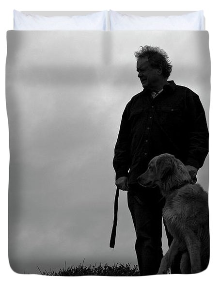Man And His Dog In Silhouette Duvet Cover by Lorraine Devon Wilke