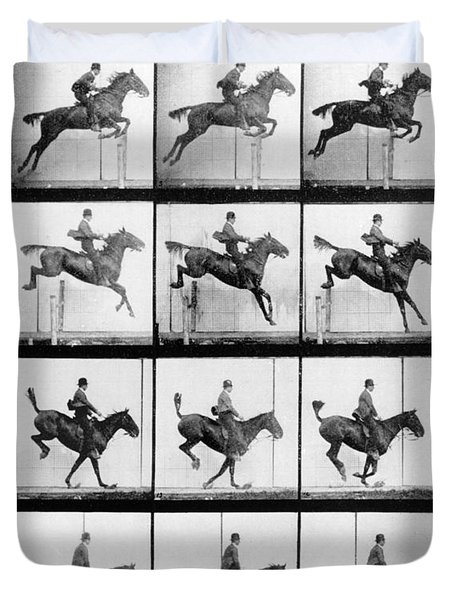 Man And Horse Jumping Duvet Cover by Eadweard Muybridge