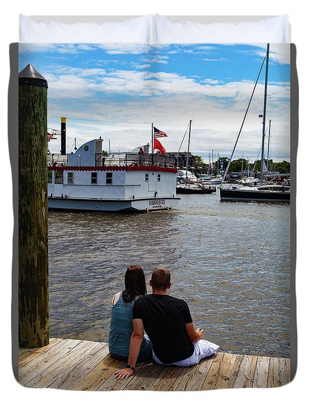 Man And Woman Sitting On Dock Duvet Cover