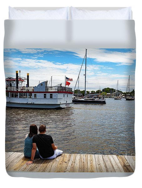 Man And Woman Sitting On The Dock Duvet Cover