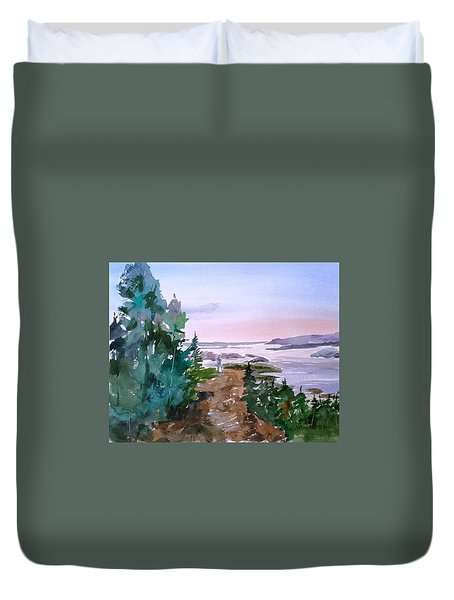 Man At Fraser Lake Bc Duvet Cover