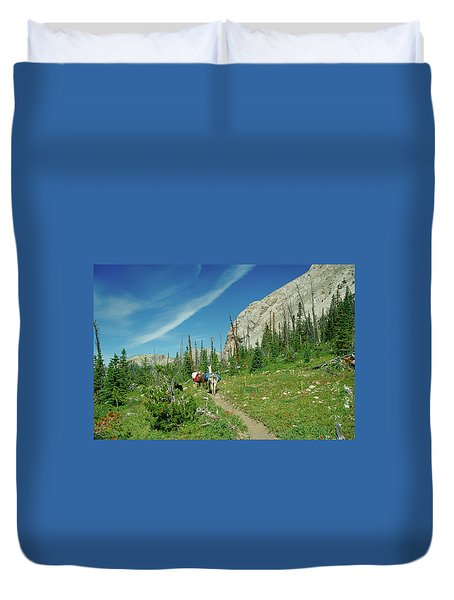 Man Hiking With Two Llamas High Alpine Mountain Trail Duvet Cover by Jerry Voss