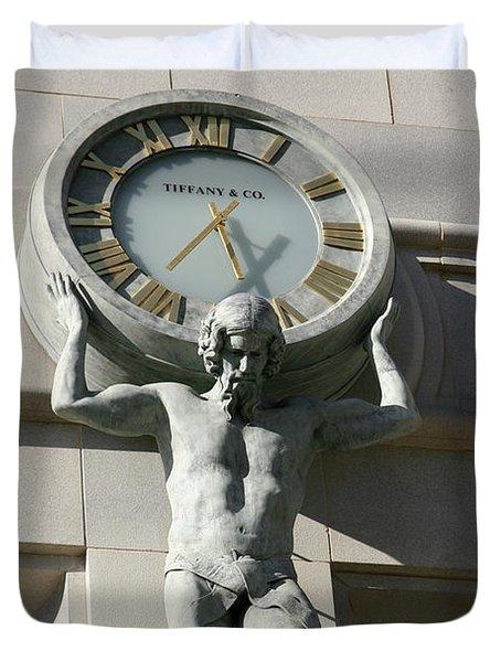 Man Holding Up Time Duvet Cover