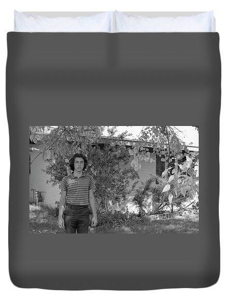 Man In Front Of Cinder-block Home, 1973 Duvet Cover