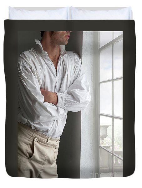 Man In Historical Shirt And Breeches Duvet Cover by Lee Avison