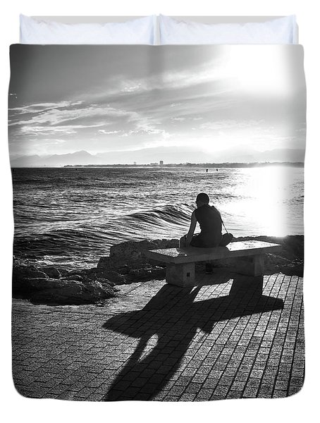 Duvet Cover featuring the photograph Man Looking At The Sea In Spain by Eduardo Jose Accorinti