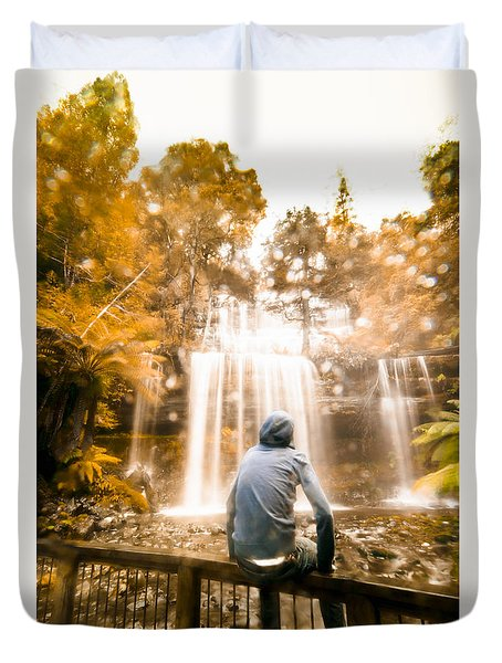 Duvet Cover featuring the photograph Man Looking At Waterfall by Jorgo Photography - Wall Art Gallery