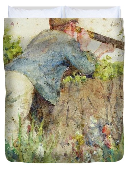Duvet Cover featuring the painting Man Looking Through A Telescope by Henry Scott Tuke