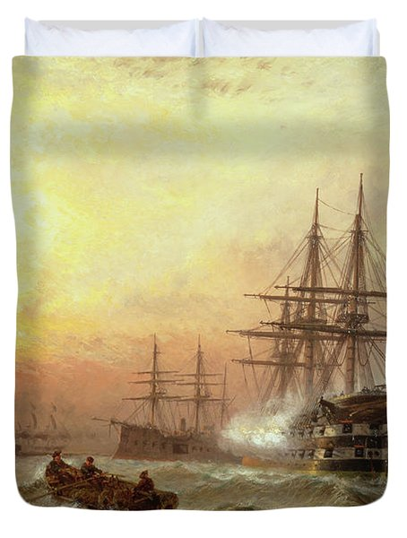Man-o-war Firing A Salute At Sunset Duvet Cover by Claude T Stanfield Moore