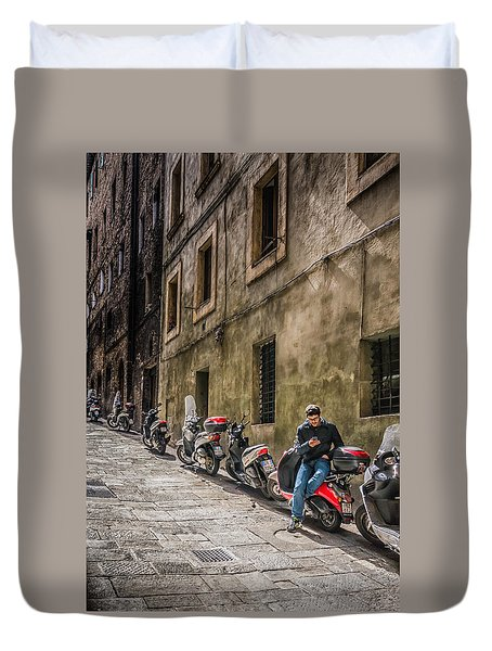Man On A Scooter Siena-style Duvet Cover