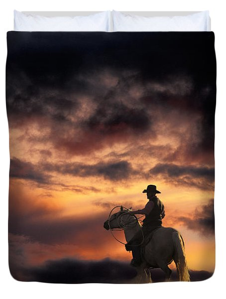 Man On Horseback Duvet Cover by Ron Sanford and Photo Researchers