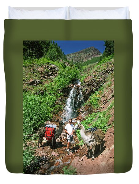 Man Posing With Two Llamas Mountain Waterfall Duvet Cover by Jerry Voss