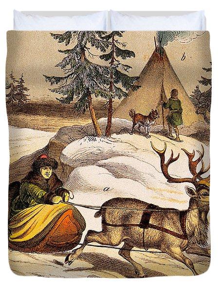 Man Riding Reindeer-drawn Sleigh Duvet Cover
