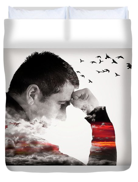 Man Thinking Double Exposure With Birds Duvet Cover