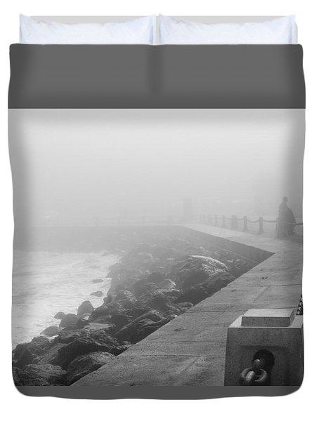 Man Waiting In Fog Duvet Cover