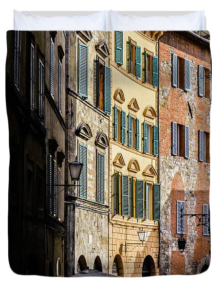 Man Walking Alone In Small Street In Siena, Tuscany, Italy Duvet Cover