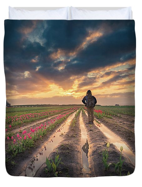 Duvet Cover featuring the photograph Man Watching Sunrise In Tulip Field by William Lee