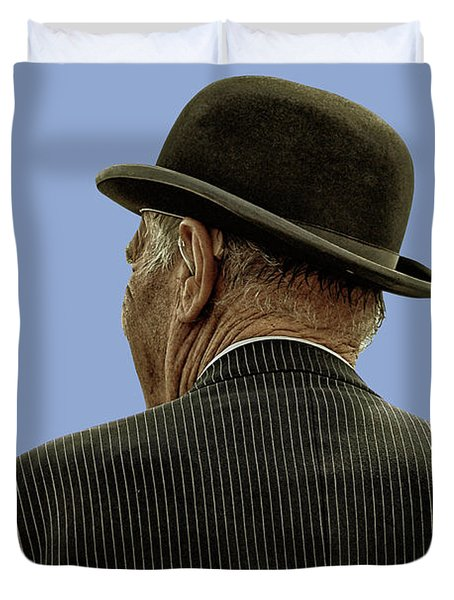 Man With A Bowler Hat Duvet Cover