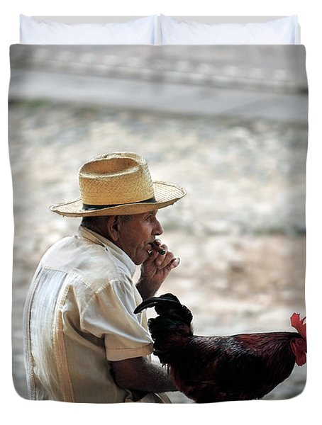 Man With Rooster - Trinidad - Cuba  Duvet Cover
