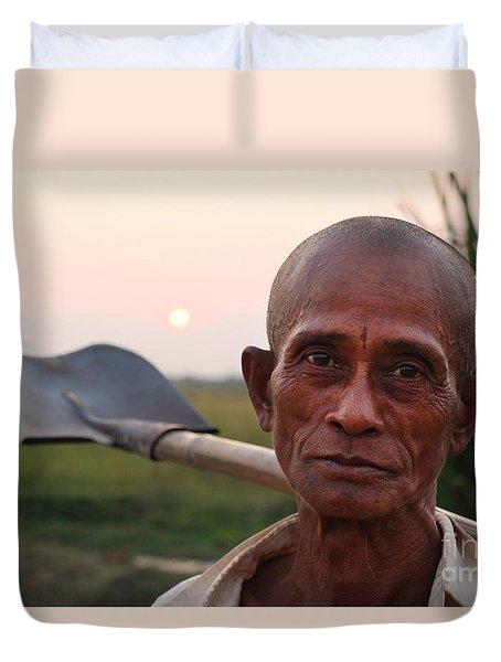 Man With Shovel Duvet Cover