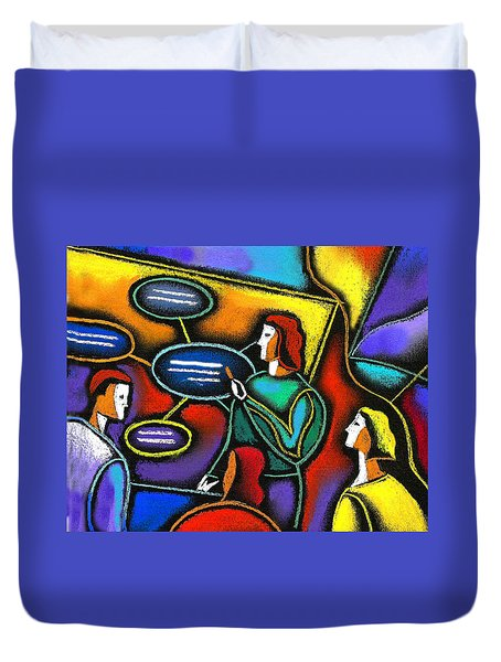 Duvet Cover featuring the painting Manager  by Leon Zernitsky