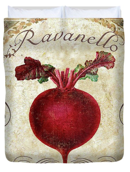 Mangia Radish Duvet Cover by Mindy Sommers