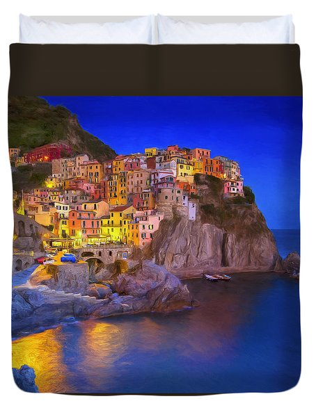 Manarola By Moonlight Duvet Cover