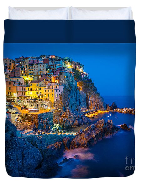 Manarola By Night Duvet Cover