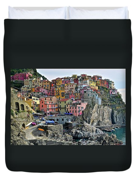 Duvet Cover featuring the photograph Manarola Cinque Terre Italy by Frozen in Time Fine Art Photography