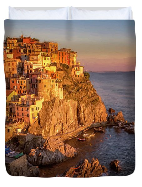 Manarola Dusk Cinque Terre Italy Painterly Duvet Cover