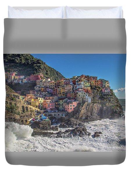 Manarola In Cinque Terre  Duvet Cover