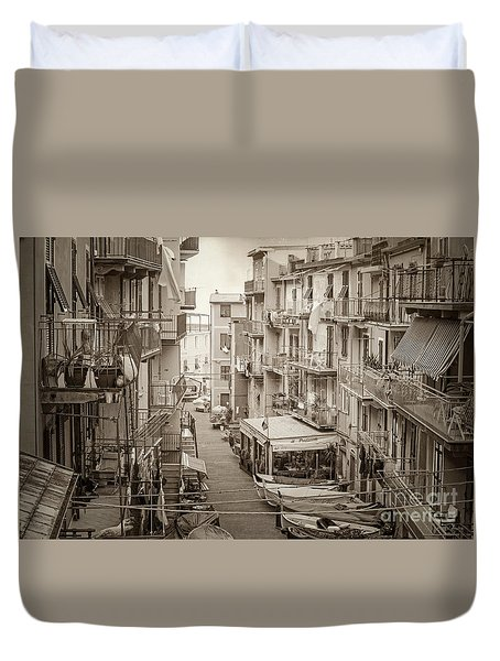 Manarola In Sepia Duvet Cover