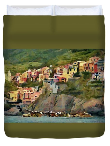 Duvet Cover featuring the painting Manarola by Jeff Kolker