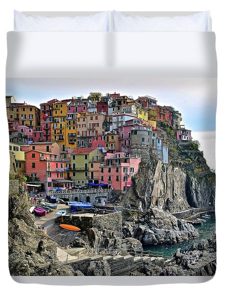 Duvet Cover featuring the photograph Manarola Version Four by Frozen in Time Fine Art Photography