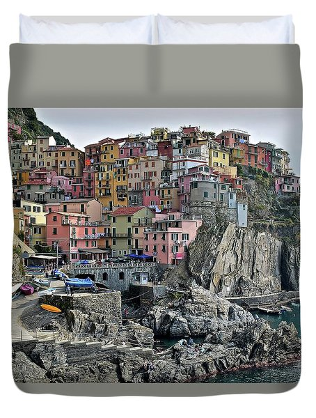 Duvet Cover featuring the photograph Manarola Version Two by Frozen in Time Fine Art Photography