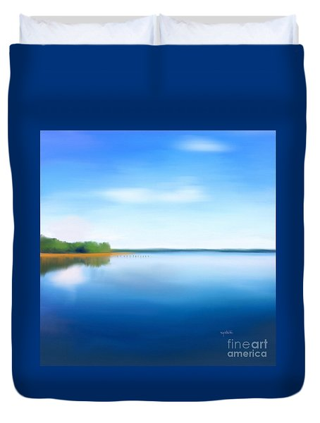 Duvet Cover featuring the painting Manasquan Reservoir by Catia Lee