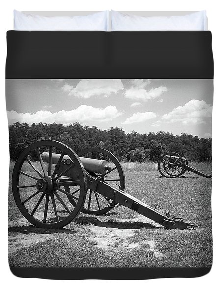Duvet Cover featuring the photograph Manassas Battlefield 2 Bw by Frank Romeo