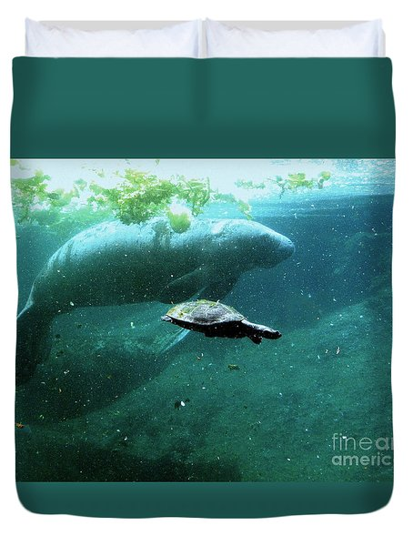 Duvet Cover featuring the photograph Manatee And Sea Turtle by Terri Mills